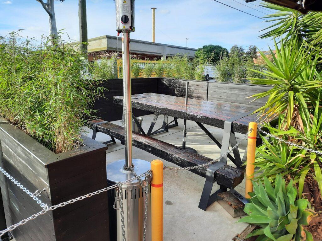 Lucky 13 garage outdoor dining