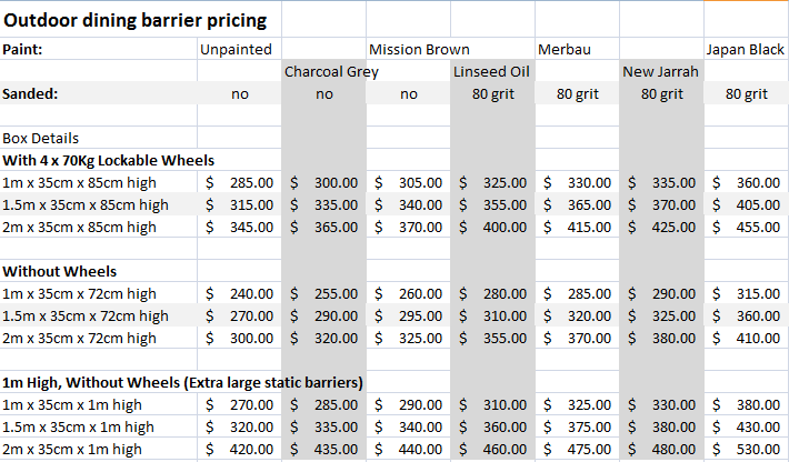 outdoor dining colour prices